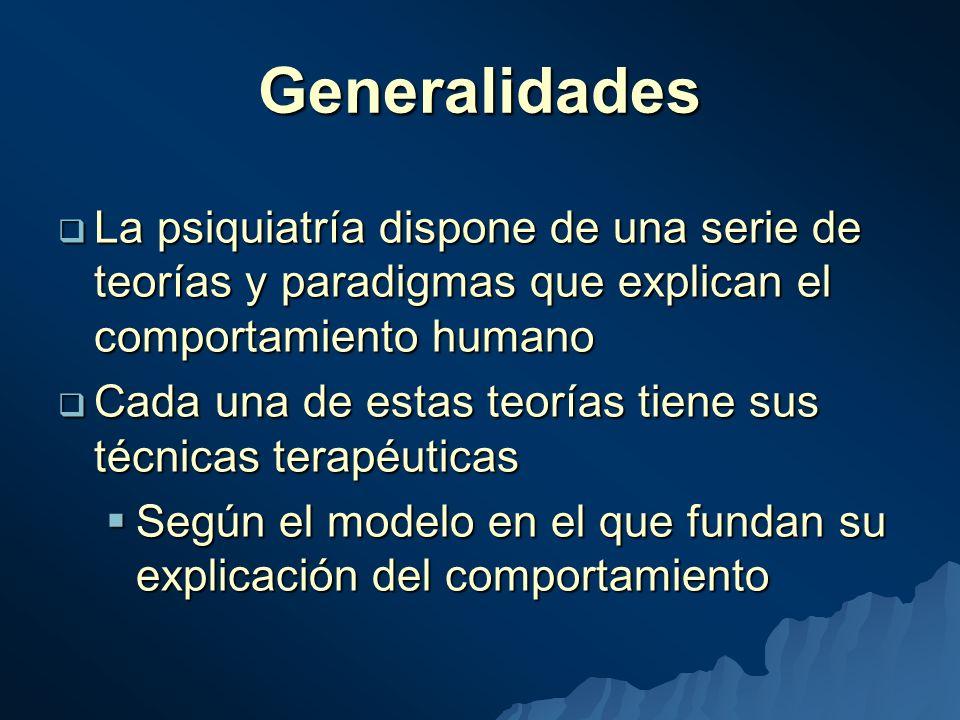 Generalidades La psiquiatría dispone de una serie de teorías y paradigmas que explican el comportamiento humano.