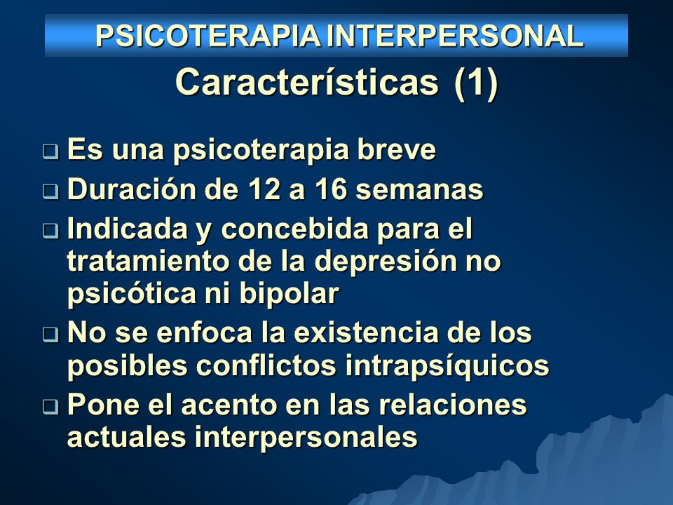 PSICOTERAPIA INTERPERSONAL