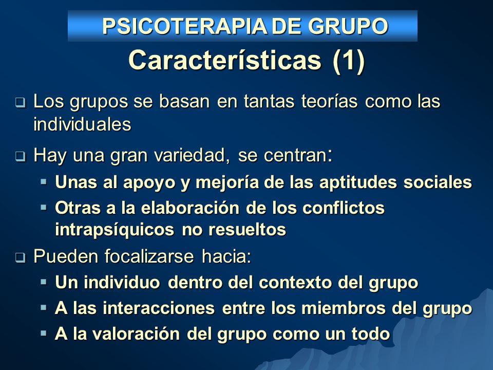 PSICOTERAPIA DE GRUPO Características (1) Los grupos se basan en tantas teorías como las individuales.