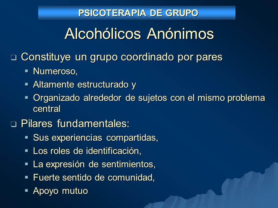 Alcohólicos Anónimos Constituye un grupo coordinado por pares