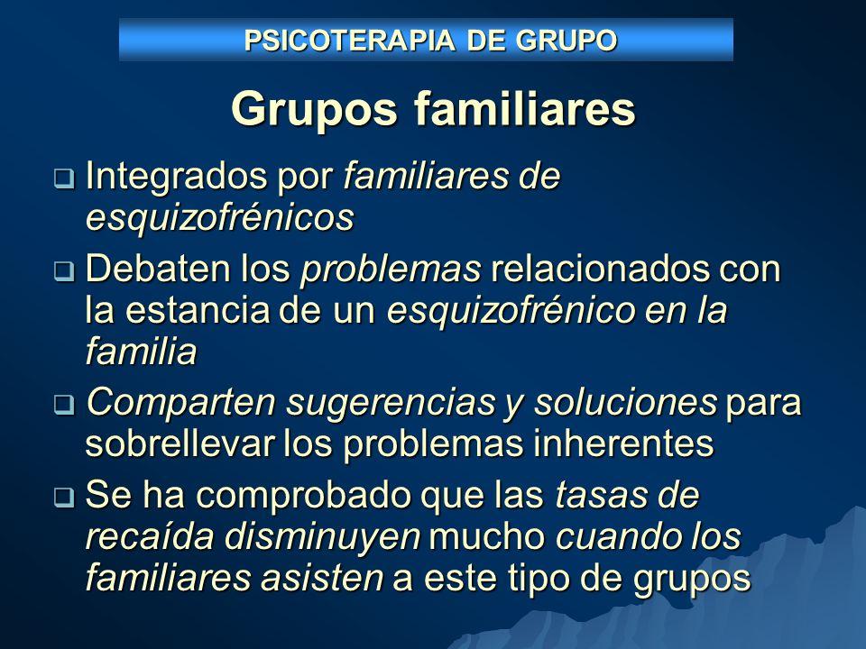 Grupos familiares Integrados por familiares de esquizofrénicos