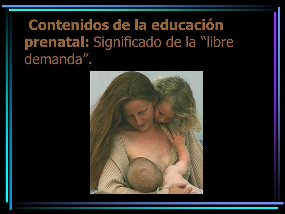 Contenidos de la educación prenatal: Significado de la libre demanda .