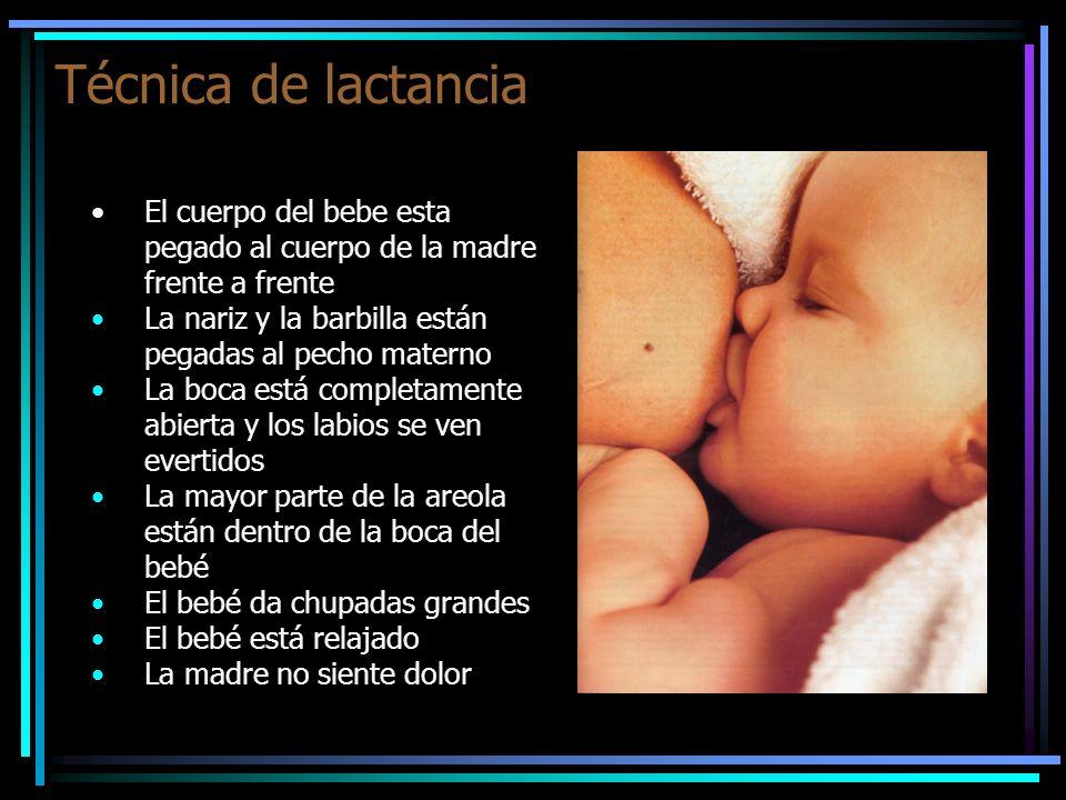 Técnica de lactanciaEl cuerpo del bebe esta pegado al cuerpo de la madre frente a frente. La nariz y la barbilla están pegadas al pecho materno.