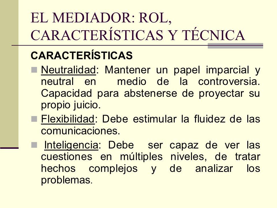 EL MEDIADOR: ROL, CARACTERÍSTICAS Y TÉCNICA