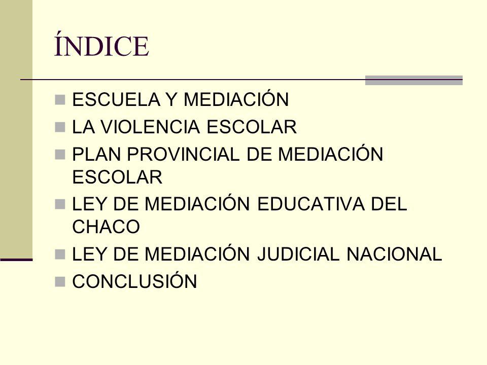 ÍNDICE ESCUELA Y MEDIACIÓN LA VIOLENCIA ESCOLAR