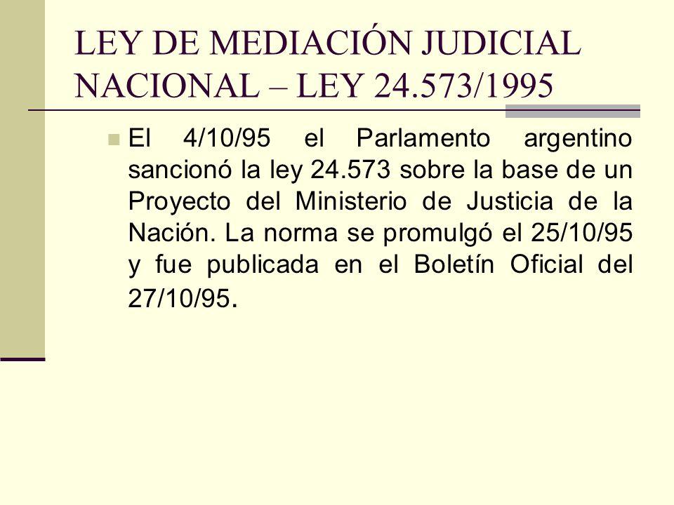 LEY DE MEDIACIÓN JUDICIAL NACIONAL – LEY 24.573/1995