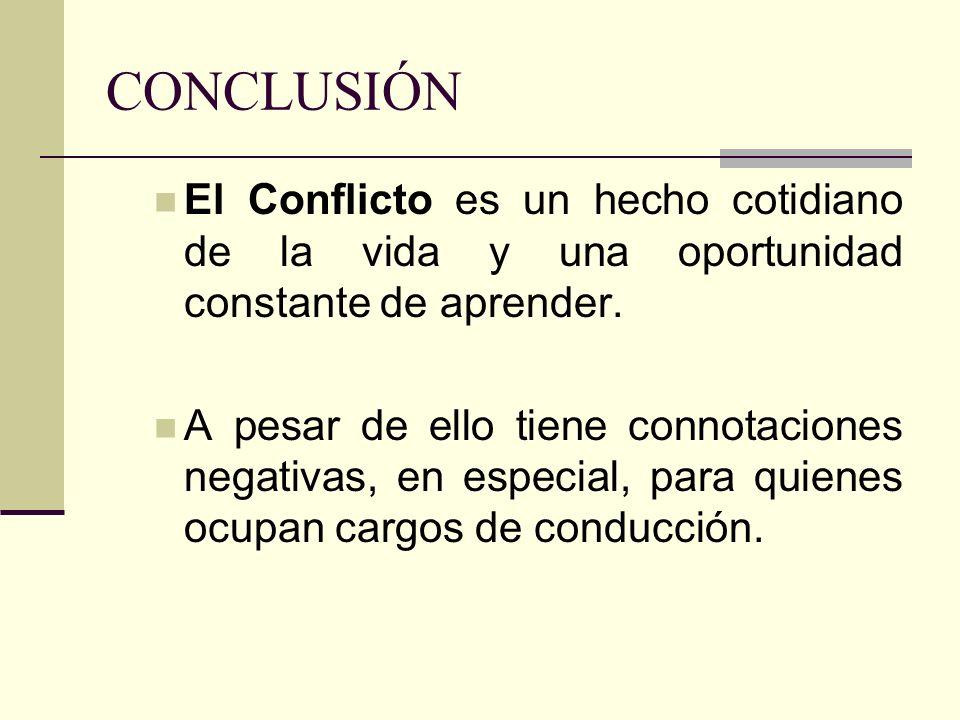 CONCLUSIÓN El Conflicto es un hecho cotidiano de la vida y una oportunidad constante de aprender.