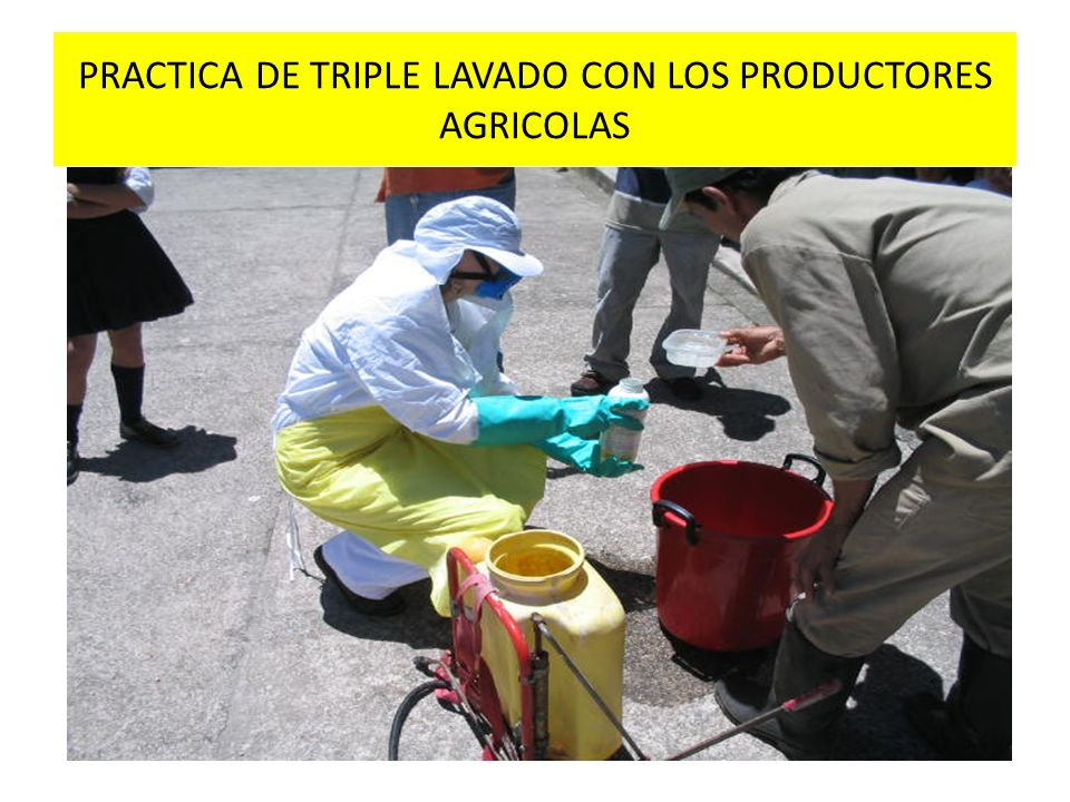 PRACTICA DE TRIPLE LAVADO CON LOS PRODUCTORES AGRICOLAS