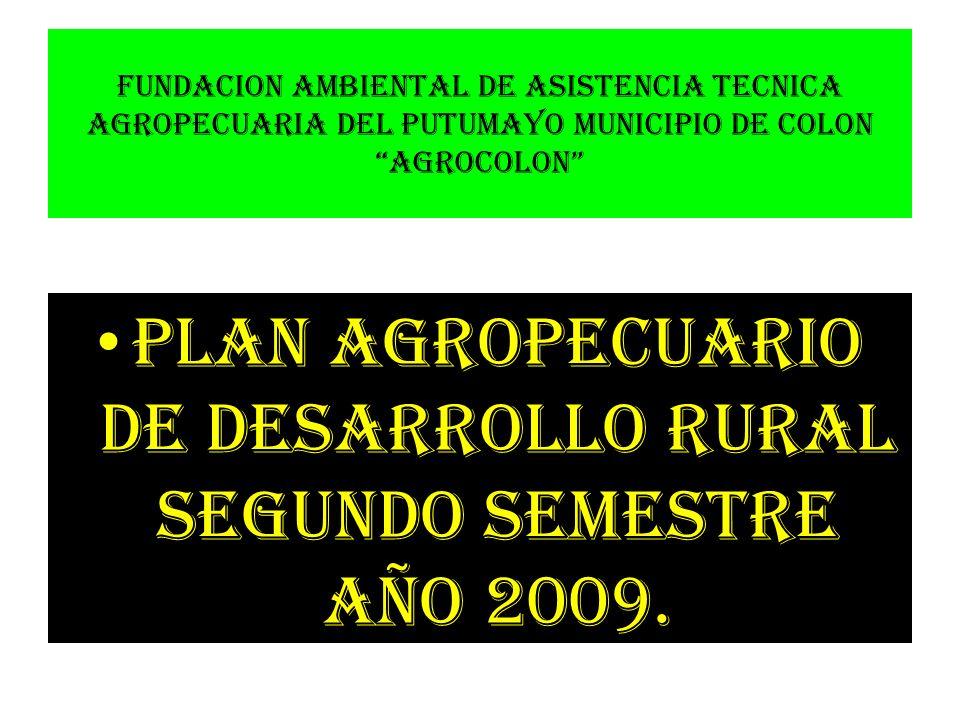 PLAN AGROPECUARIO DE DESARROLLO RURAL SEGUNDO SEMESTRE AÑO 2009.
