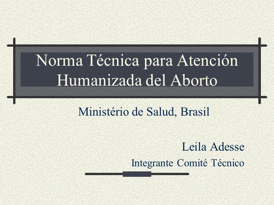 Norma Técnica para Atención Humanizada del Aborto