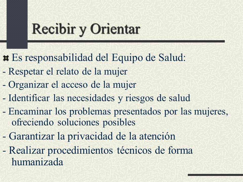 Recibir y Orientar Es responsabilidad del Equipo de Salud: