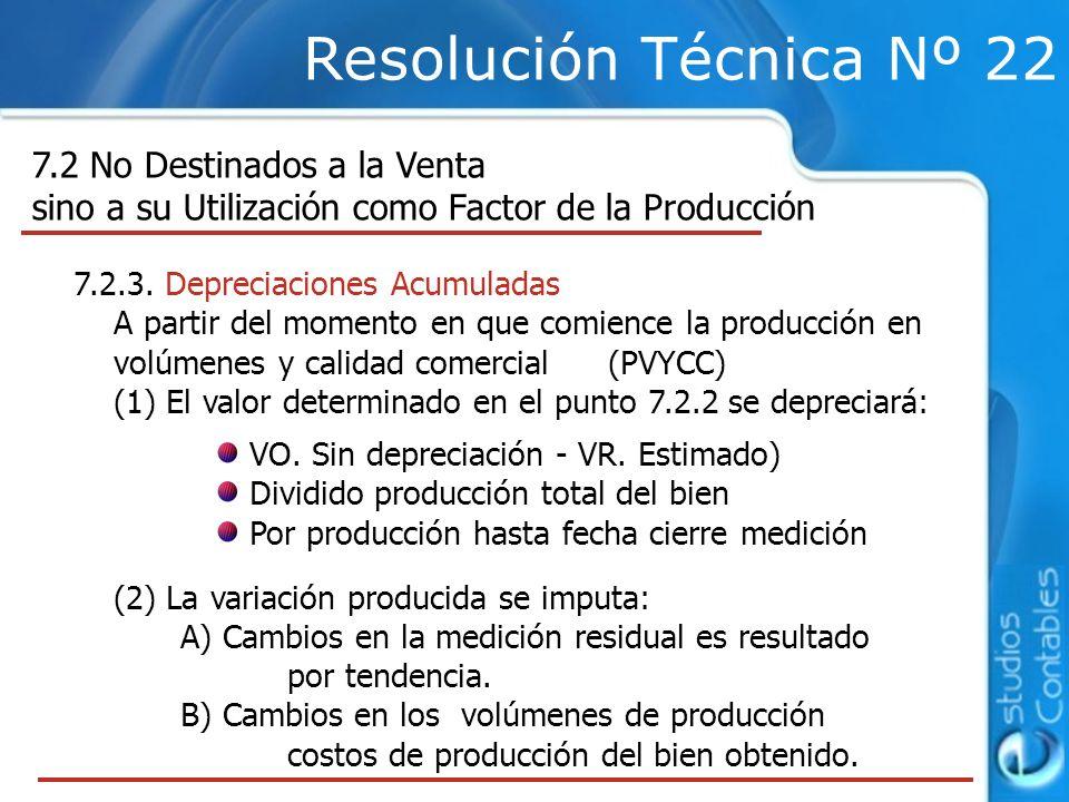 Resolución Técnica Nº 22 7.2 No Destinados a la Venta