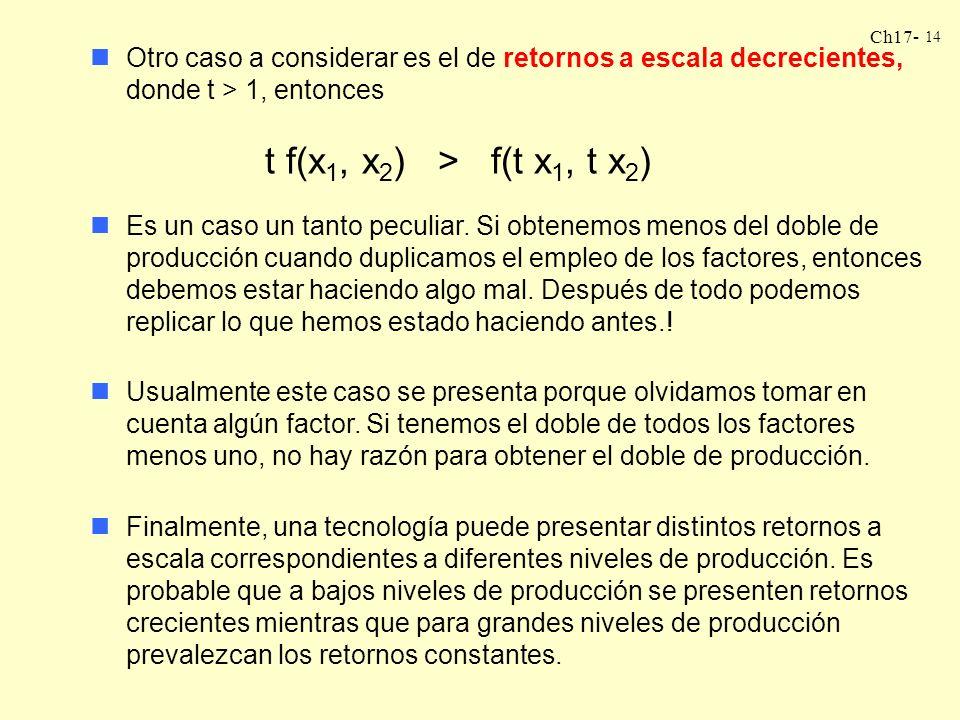 Otro caso a considerar es el de retornos a escala decrecientes, donde t > 1, entonces t f(x1, x2) > f(t x1, t x2)