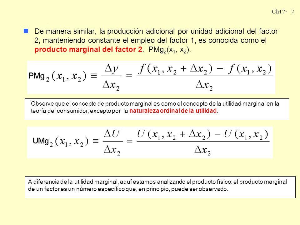 De manera similar, la producción adicional por unidad adicional del factor 2, manteniendo constante el empleo del factor 1, es conocida como el producto marginal del factor 2. PMg2(x1, x2).