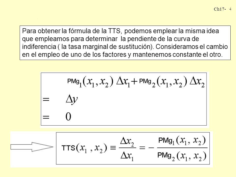 Para obtener la fórmula de la TTS, podemos emplear la misma idea que empleamos para determinar la pendiente de la curva de indiferencia ( la tasa marginal de sustitución).