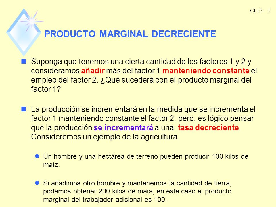 PRODUCTO MARGINAL DECRECIENTE