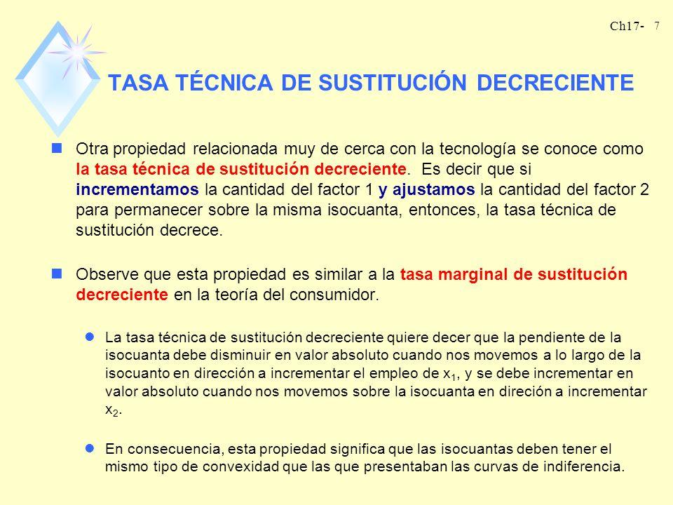 TASA TÉCNICA DE SUSTITUCIÓN DECRECIENTE