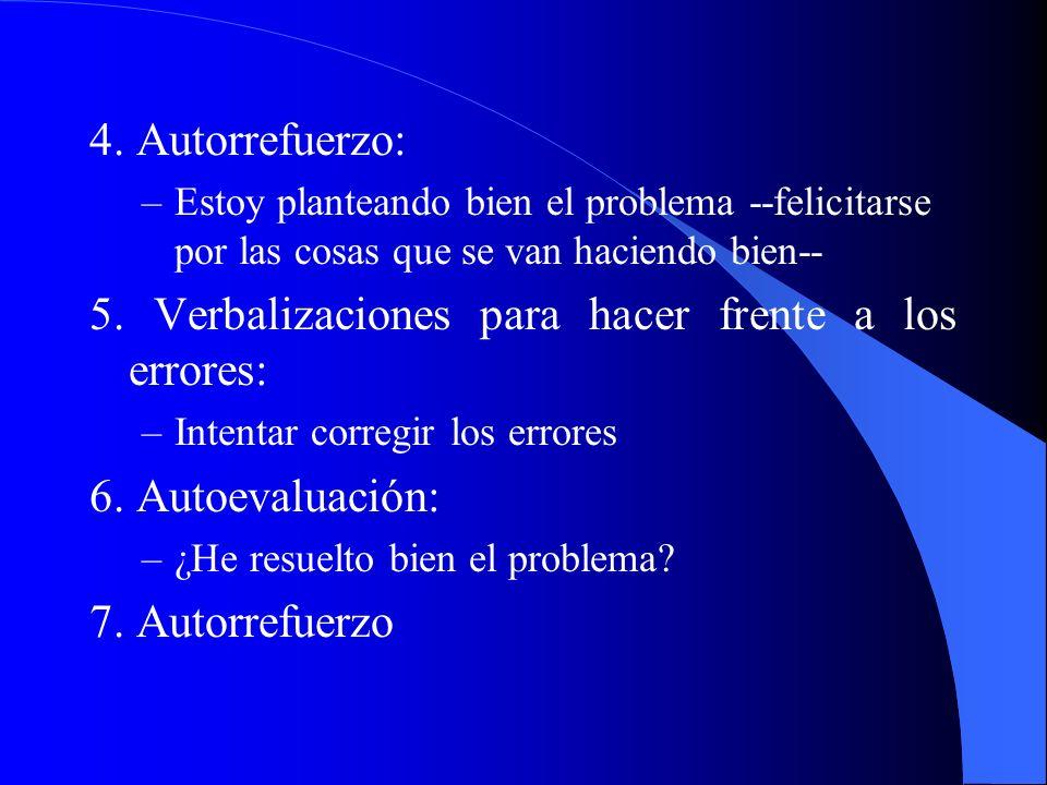 5. Verbalizaciones para hacer frente a los errores: