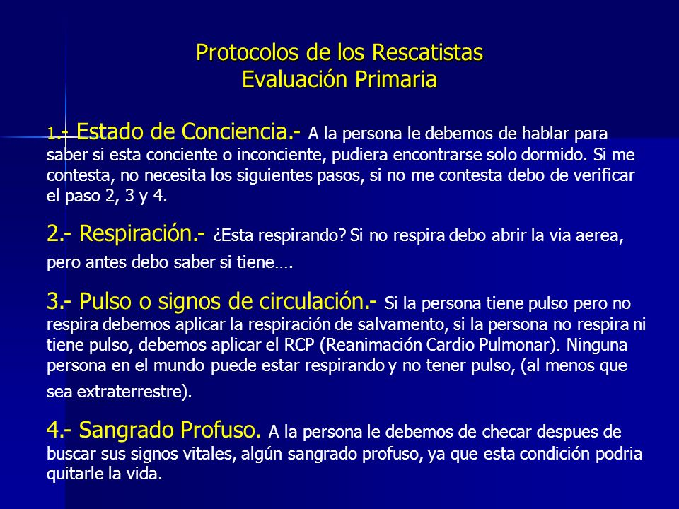 Protocolos de los Rescatistas Evaluación Primaria