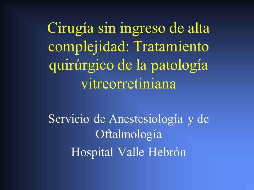 Cirugía sin ingreso de alta complejidad: Tratamiento quirúrgico de la patología vitreorretiniana Servicio de Anestesiología y de Oftalmología Hospital Valle Hebrón
