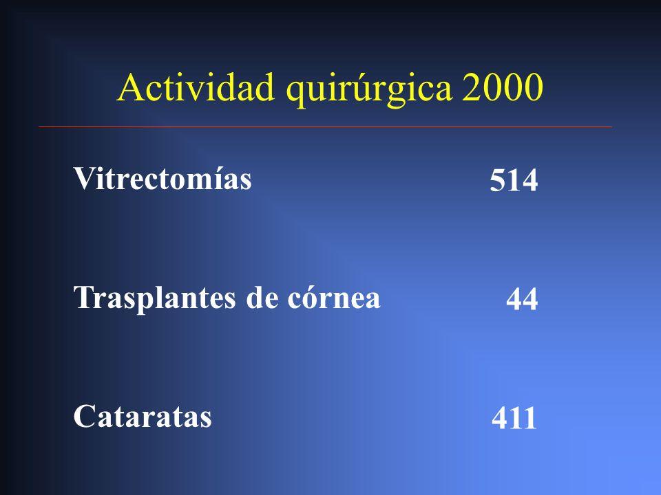 Actividad quirúrgica 2000 Vitrectomías 514 Trasplantes de córnea 44