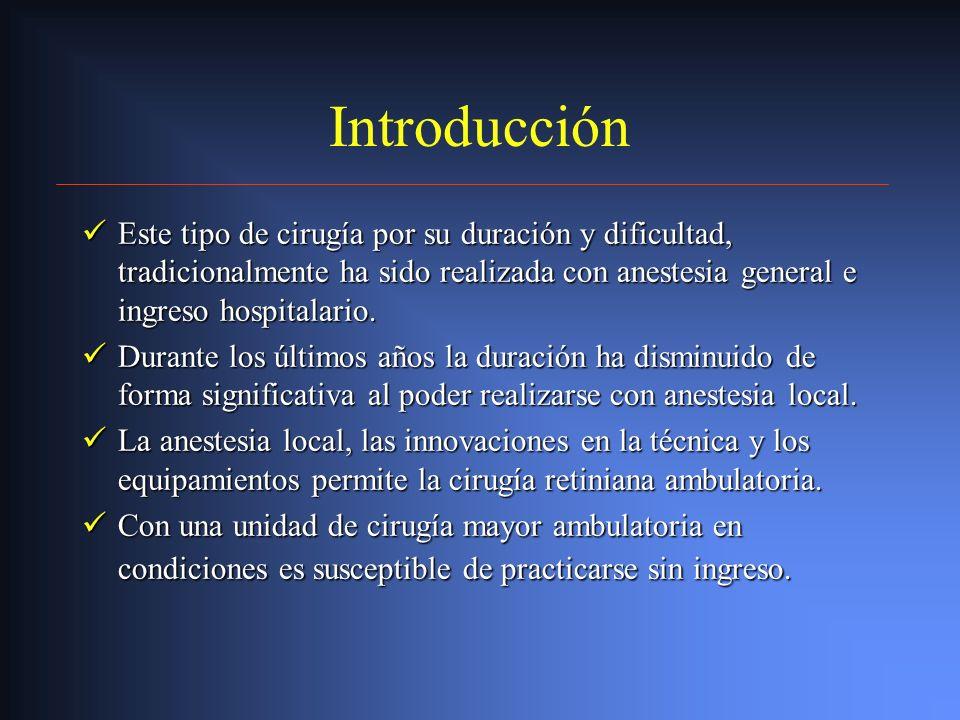 Introducción Este tipo de cirugía por su duración y dificultad, tradicionalmente ha sido realizada con anestesia general e ingreso hospitalario.