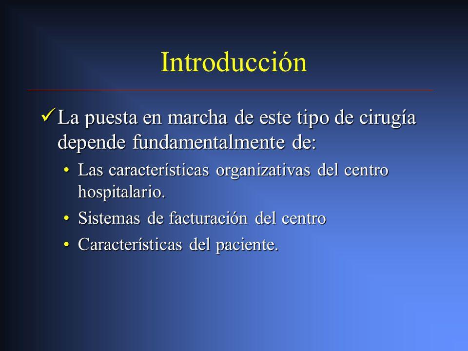Introducción La puesta en marcha de este tipo de cirugía depende fundamentalmente de: Las características organizativas del centro hospitalario.