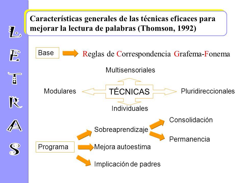 Características generales de las técnicas eficaces para mejorar la lectura de palabras (Thomson, 1992)