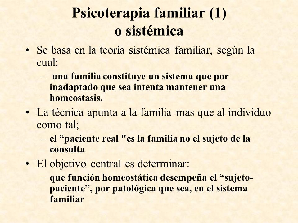 Psicoterapia familiar (1) o sistémica