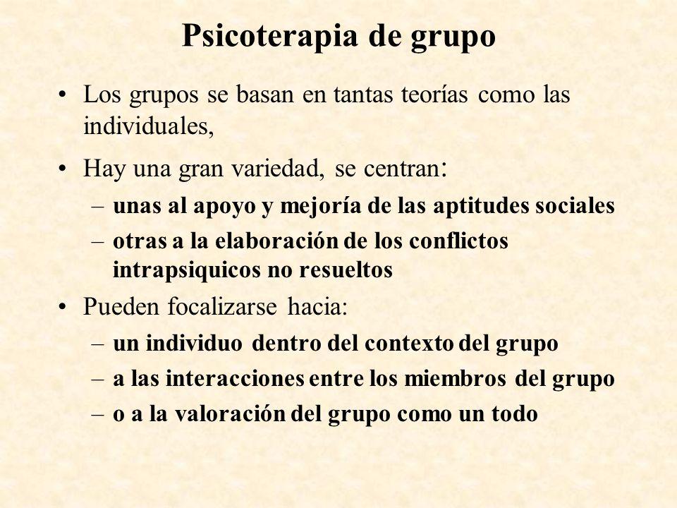 Psicoterapia de grupo Los grupos se basan en tantas teorías como las individuales, Hay una gran variedad, se centran: