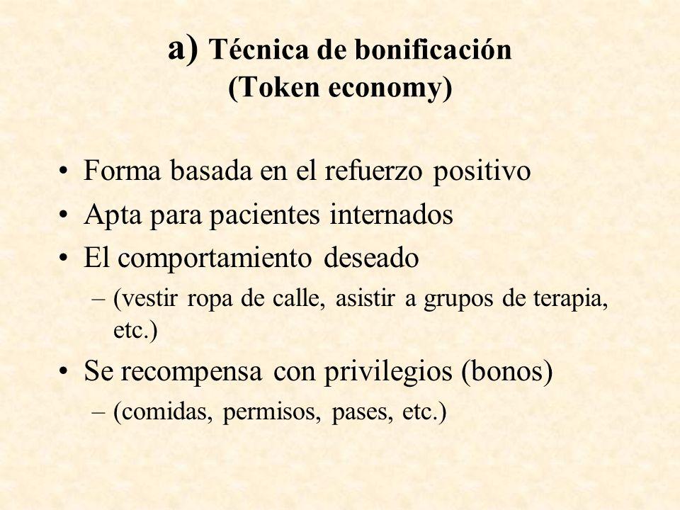 a) Técnica de bonificación (Token economy)