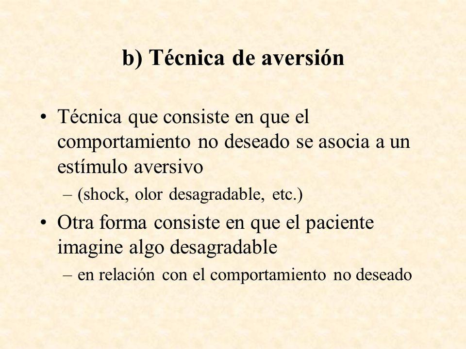 b) Técnica de aversiónTécnica que consiste en que el comportamiento no deseado se asocia a un estímulo aversivo.