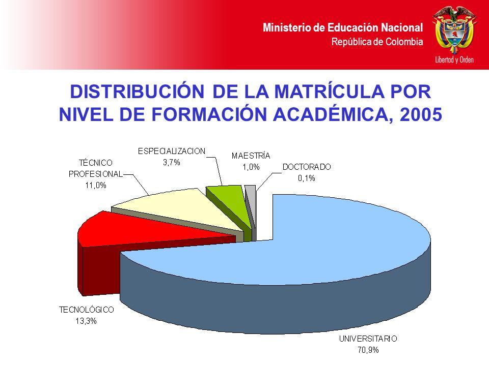 DISTRIBUCIÓN DE LA MATRÍCULA POR NIVEL DE FORMACIÓN ACADÉMICA, 2005