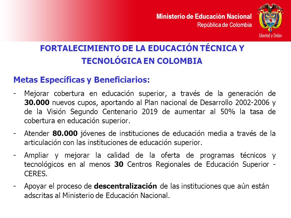 FORTALECIMIENTO DE LA EDUCACIÓN TÉCNICA Y TECNOLÓGICA EN COLOMBIA