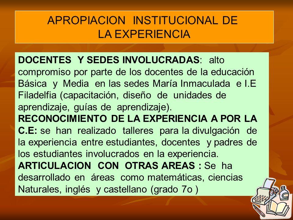 APROPIACION INSTITUCIONAL DE