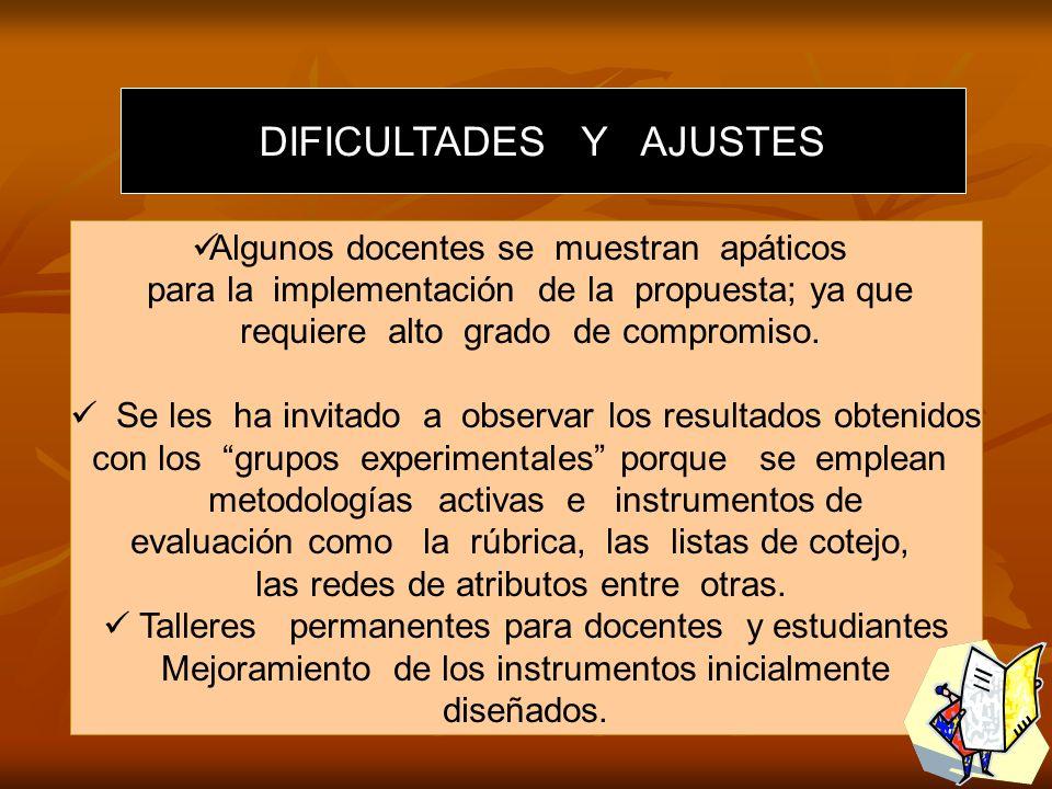 DIFICULTADES Y AJUSTES