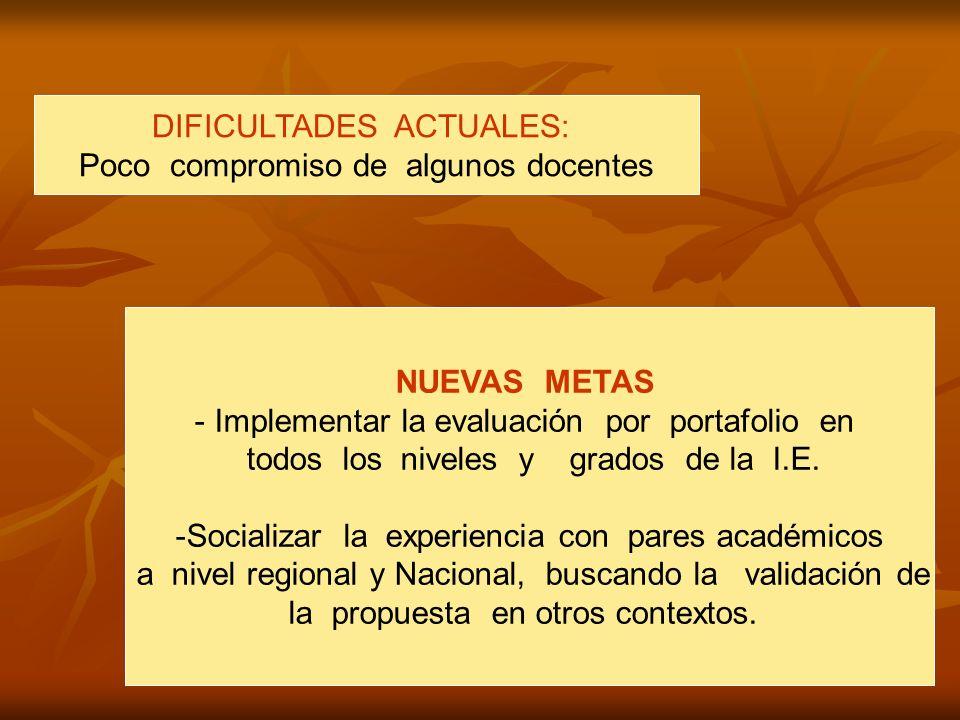 DIFICULTADES ACTUALES: Poco compromiso de algunos docentes