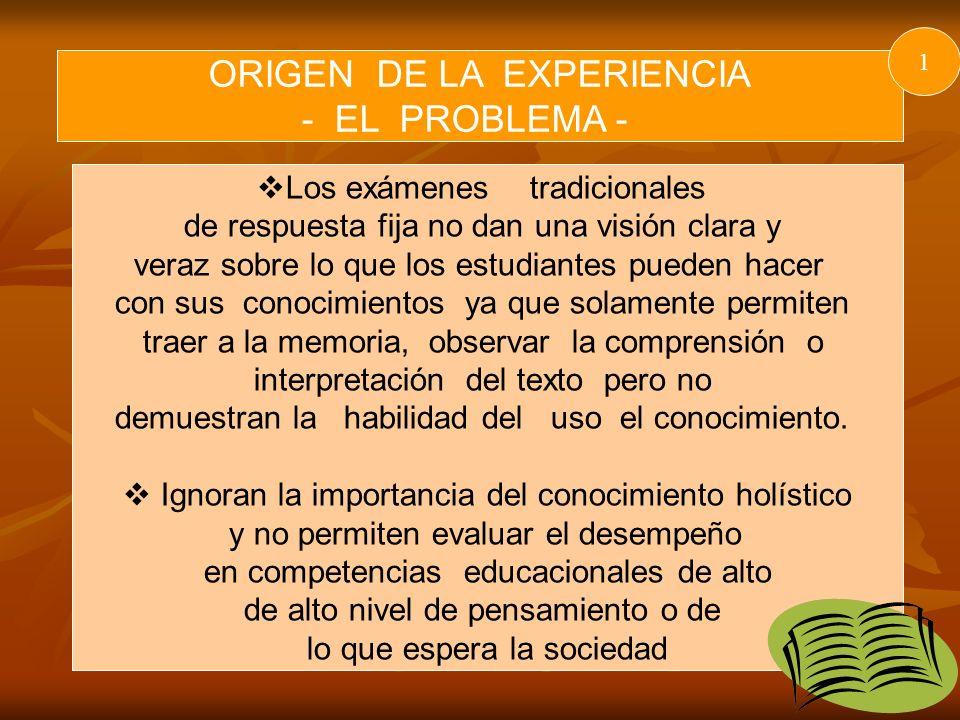 ORIGEN DE LA EXPERIENCIA - EL PROBLEMA -