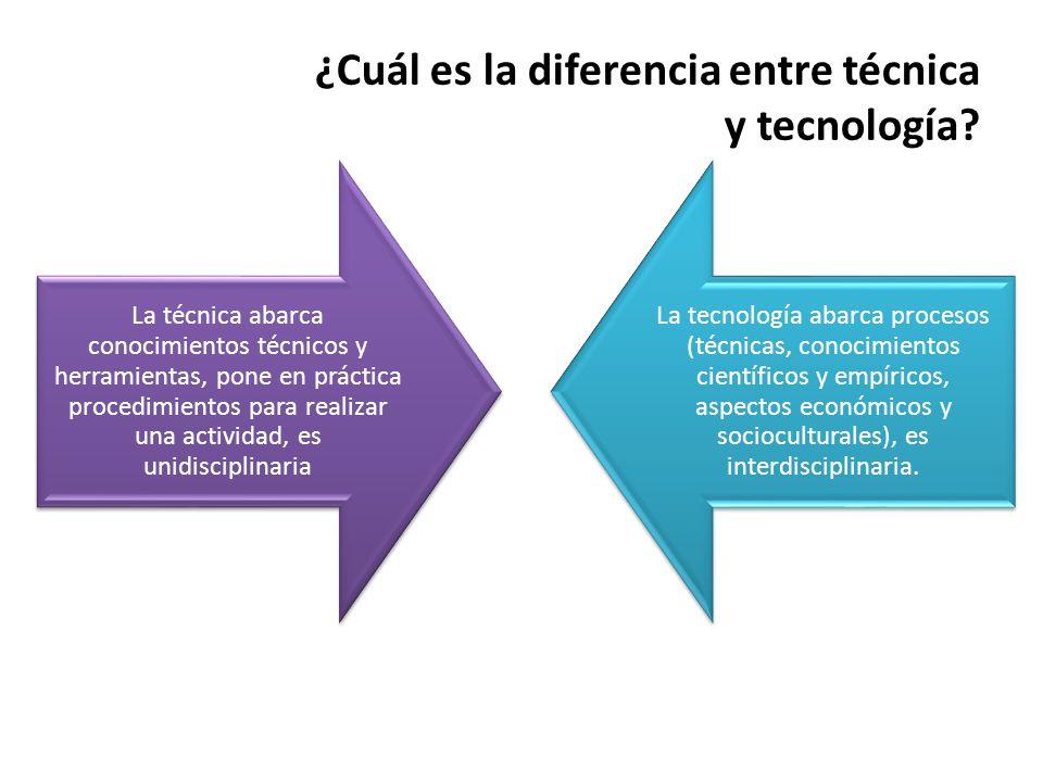¿Cuál es la diferencia entre técnica y tecnología