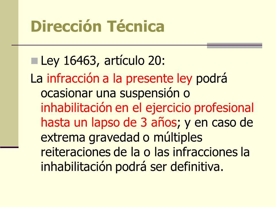 Dirección Técnica Ley 16463, artículo 20: