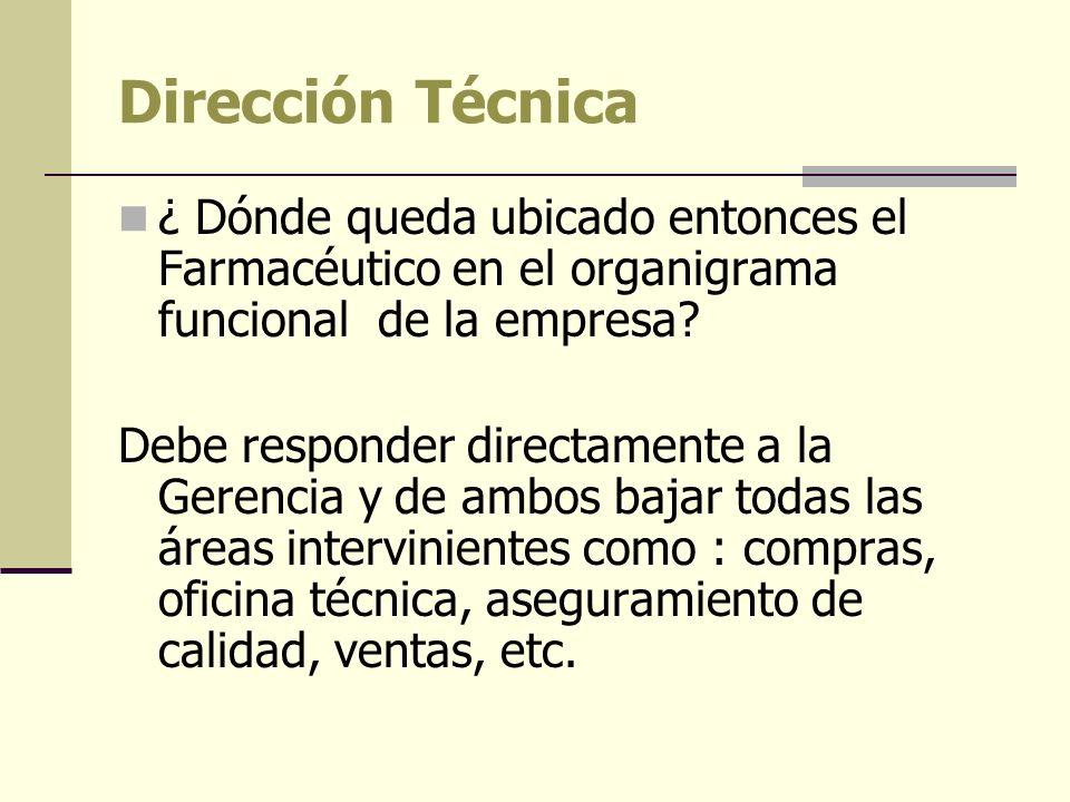 Dirección Técnica ¿ Dónde queda ubicado entonces el Farmacéutico en el organigrama funcional de la empresa