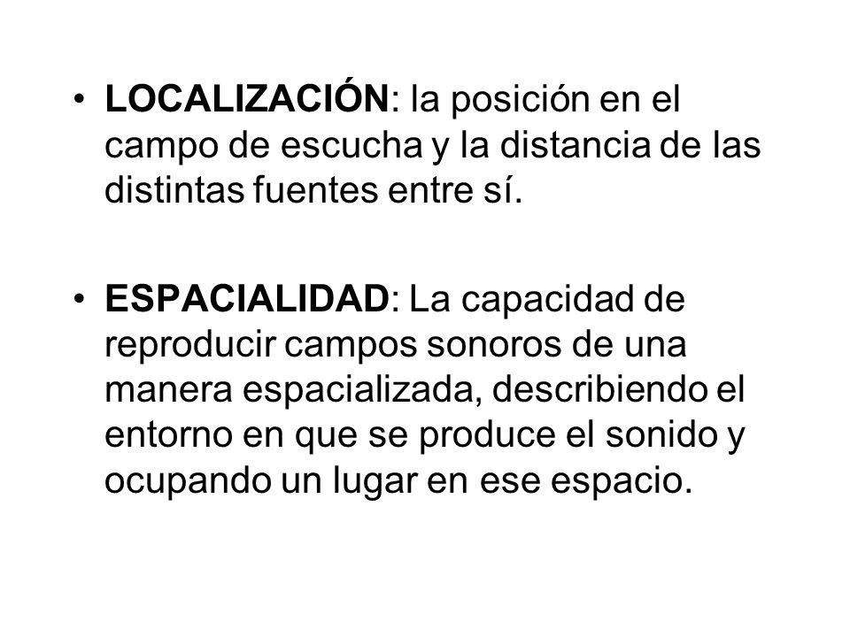 LOCALIZACIÓN: la posición en el campo de escucha y la distancia de las distintas fuentes entre sí.