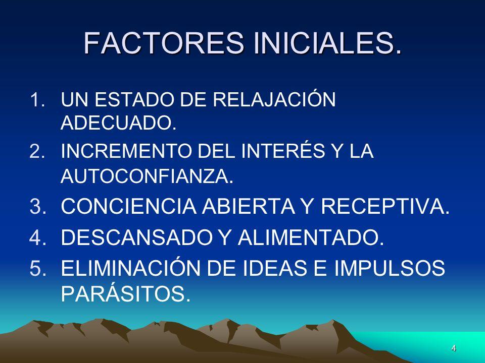 FACTORES INICIALES. CONCIENCIA ABIERTA Y RECEPTIVA.