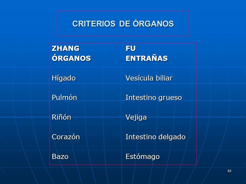 CRITERIOS DE ÓRGANOS ZHANG FU ÓRGANOS ENTRAÑAS Hígado Vesícula biliar