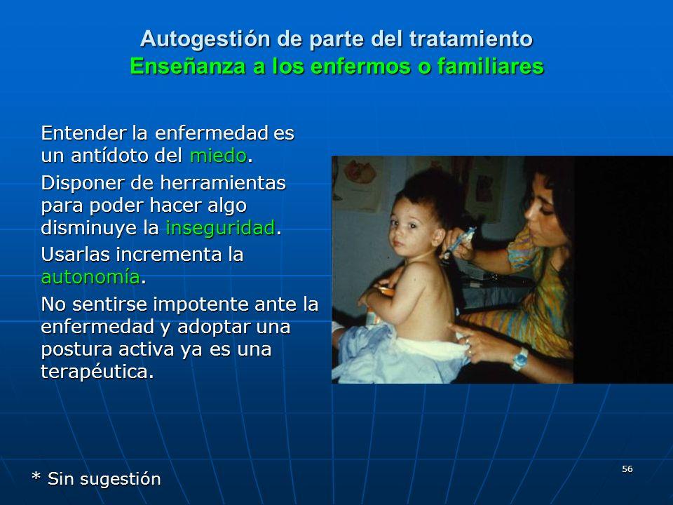 Autogestión de parte del tratamiento Enseñanza a los enfermos o familiares