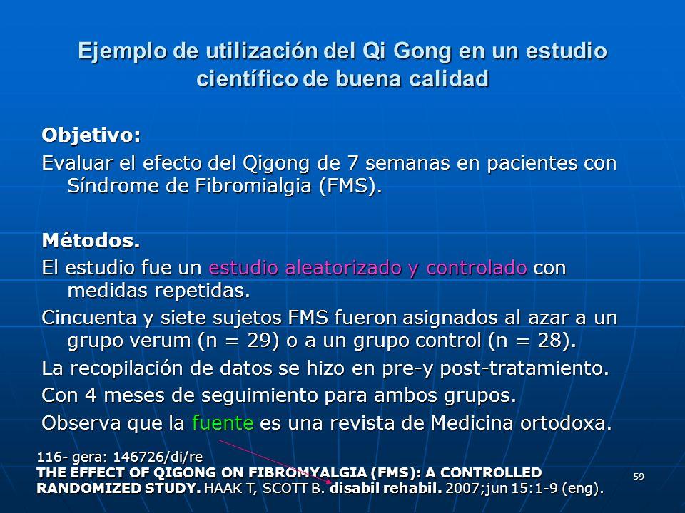 Ejemplo de utilización del Qi Gong en un estudio científico de buena calidad
