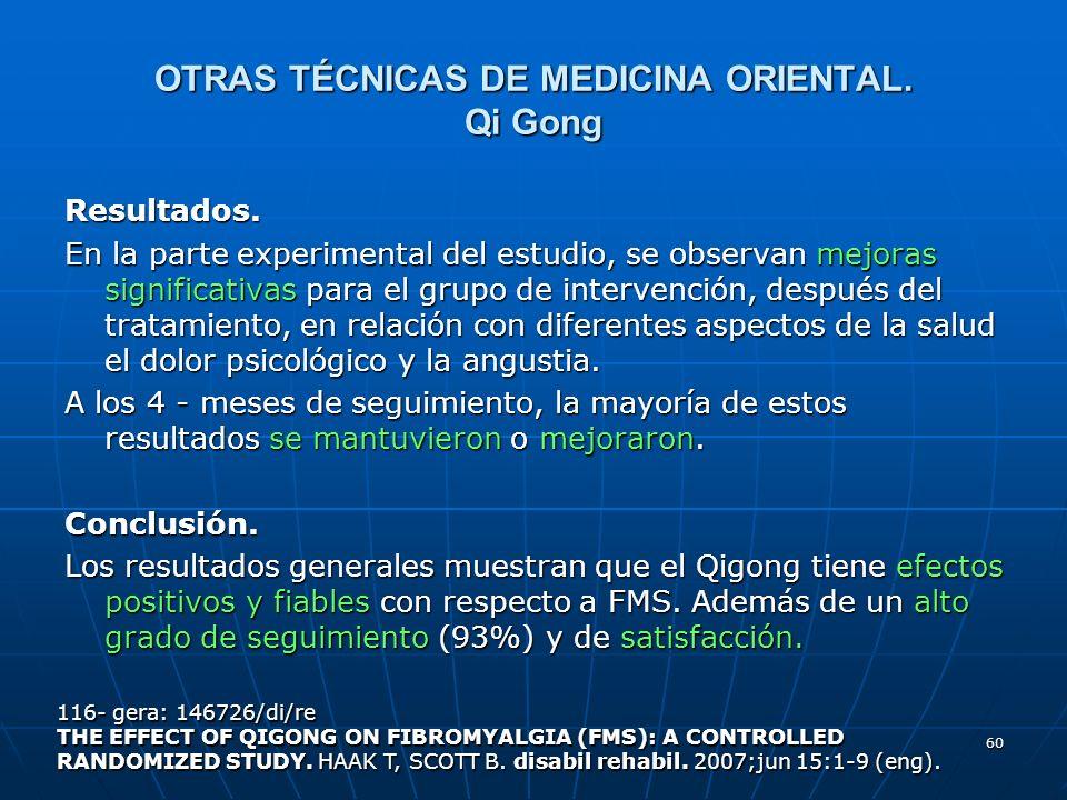 OTRAS TÉCNICAS DE MEDICINA ORIENTAL. Qi Gong