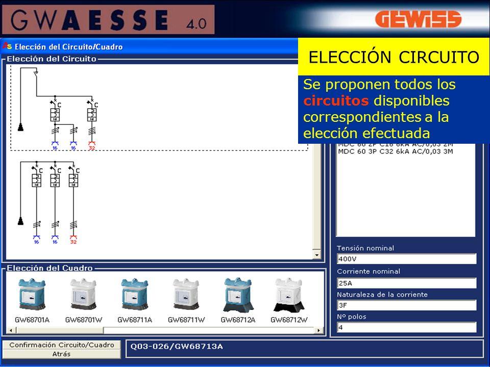 ELECCIÓN CIRCUITO Se proponen todos los circuitos disponibles correspondientes a la elección efectuada.