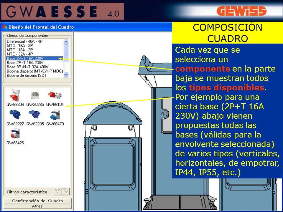 COMPOSICIÓN CUADRO Cada vez que se selecciona un componente en la parte baja se muestran todos los tipos disponibles.