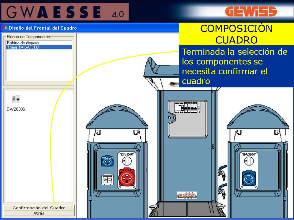 COMPOSICIÓN CUADRO Terminada la selección de los componentes se necesita confirmar el cuadro